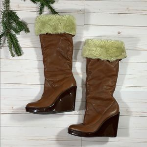 Michael Kors Leather Faux Fur Knee High Boots